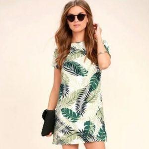 Lulu's tropical palm leaf print shift dress #495